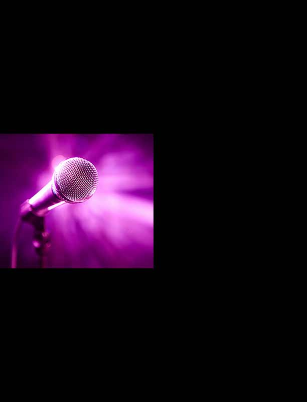 Microphone bathed in purple light